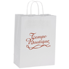 White Kraft Recycled Paper Shopping Bag- 13-1/2