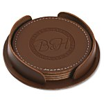 Leather 4-Piece Coaster Set