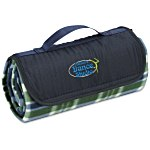 Roll-Up Blanket  Green/Navy Plaid w/Navy Flap