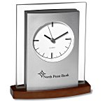 Desktop Analog Clock - Wood Base