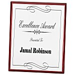 Rosewood Finished Plaque w/Aluminum Plate - 10