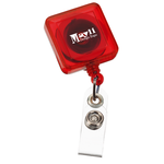 Economy Retractable Badge Holder - SQ - Translucent