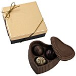 Chocolate Heart Box w/Truffles - Gold Box