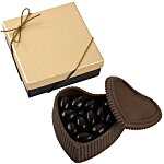 Chocolate Heart Box w/Confection - Gold Box