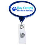 Retractable Badge Holder - Oval - Chrome Finish