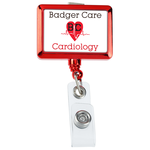 Retractable Badge Holder - Rectangle - Chrome Finish