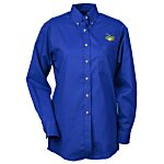 Soil Release Button Down LS Poplin Shirt - Ladies'