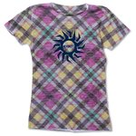 Blue 84 Juniors' Burnout Sublimated Tee - Tartan Plaid