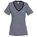 Anvil 5.0 oz. Striped V-Neck T-Shirt - Ladies' - Embroidered