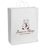 White Kraft Paper Shopping Bag  - 19-1/4