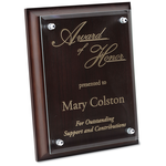 Walnut Finished Plaque w/Jade Glass Plate - 9