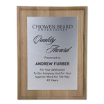Walnut Finished Wood Plaque w/Aluminum Plate - 12