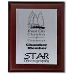 Cherry Finished Wood Plaque w/Aluminum Plate - 10