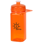 PolySure Squared-Up Sport Bottle w/Handle-16 oz.-Translucent
