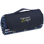 Roll-Up Blanket  Navy/White Plaid w/Navy Flap