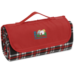 Roll-Up Blanket  Black/Red Plaid w/Red Flap
