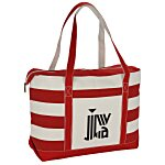 Canvas Nautical 18 oz. Zip Top Tote - 14
