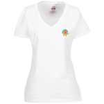 Fruit of the Loom HD V-Neck T-Shirt - Ladies' - Emb - White