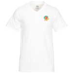 Fruit of the Loom HD V-Neck T-Shirt - Men's - Emb - White