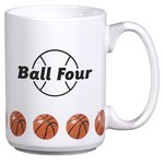 Sports Ceramic Mug - 15 oz. - Basketball