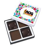 Molded Chocolate Squares - 4 Pieces - Dots