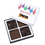Molded Chocolate Squares - 4 Pieces - Happy Holidays