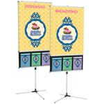 Trio Banner Stand w/Literature Pockets- Double-Side Graphics
