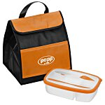 Food Container with Knife and Fork in Lunch Bag