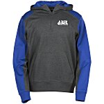 Colorblock Performance Heather Fleece 1/4 Zip Hoodie-Screen