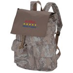 In Print Rucksack Backpack - Camo - Embroidered