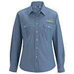 Chambray Roll Sleeve Double Pocket Shirt - Ladies' - 24 hr
