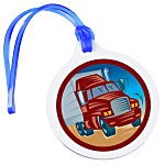 Round Luggage Tag with Tab - Translucent - Full Color