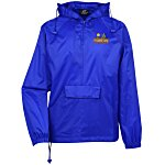 Hooded 1/4 Zip Pack Away Jacket - Embroidered