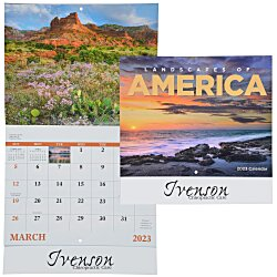 View a larger, more detailed picture of the Landscapes of America Calendar English - Stapled