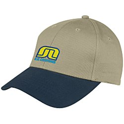 View a larger, more detailed picture of the Curved Visor Brushed Twill Cap - Embroidered