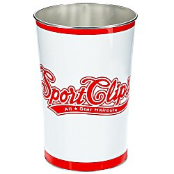 View a larger, more detailed picture of the 4 Gal Tapered Metal Wastebasket