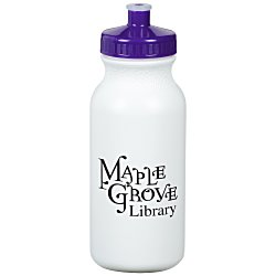 View a larger, more detailed picture of the Sport Bottle w Push Pull Cap - 20 oz - White