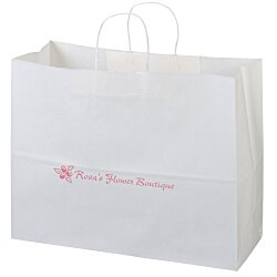 View a larger, more detailed picture of the Kraft Paper White Shopping Bag 12 x 16