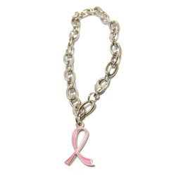 View a larger, more detailed picture of the Silver Charm Bracelet - Pink Ribbon