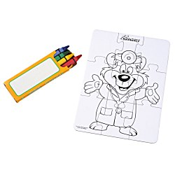 View a larger, more detailed picture of the Coloring Puzzle & Crayons - Doctor