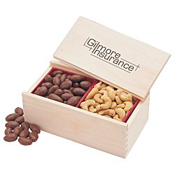 View a larger, more detailed picture of the Wooden Box with Almonds & Cashews