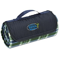 View a larger, more detailed picture of the Roll-Up Blanket Green Navy Plaid w Navy Flap