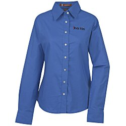 View a larger, more detailed picture of the Harriton Oxford w Stain Release Shirt - Ladies