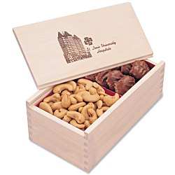 View a larger, more detailed picture of the Wooden Box w Turtles & Cashews