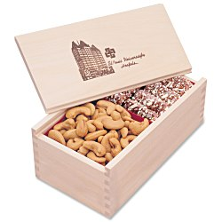 View a larger, more detailed picture of the Wooden Box w Toffee & Cashews