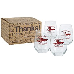 View a larger, more detailed picture of the Stemless White Wine Glass Set - 17 oz