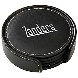 View a larger, more detailed picture of the Leather Coaster Set