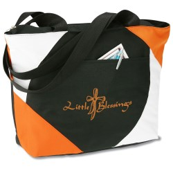 View a larger, more detailed picture of the Geo Color Block Tote - Black