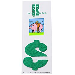 View a larger, more detailed picture of the Plant-A-Shape Flower Seed Bookmark - Dollar Sign