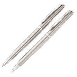 View a larger, more detailed picture of the Waterman Hemisphere Stainless Pen Pencil Set - Chrome Trim